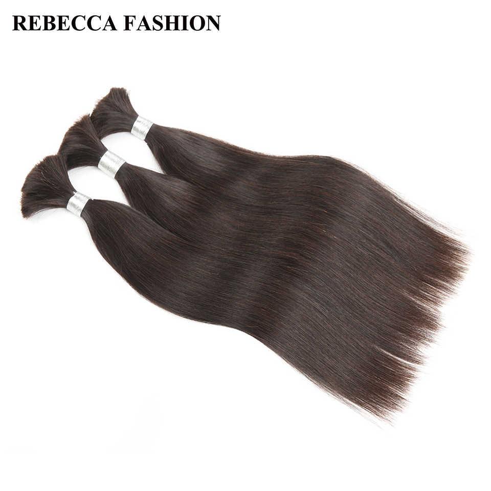 Rebeca brasileña Remy pelo humano recto a granel para trenzar 1 paquete envío gratis 10 a 30 pulgadas extensiones de cabello de Color Natural