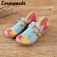 Careaymade-Genuine leather Leisure shoes New Women's Sandals Muffin and Sandals Ethnic Style Leather Slope shoes,2 colors