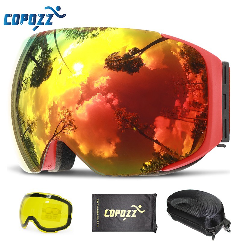 COPOZZ Magnetic Ski Goggles with Quick-change Lens and Case Set 100% UV400 Protection Anti-fog Snowboard Goggles for Men & Women free shipping csg goggles 38 kinds of fashionable ski goggles the new fashion personality ski goggles double lens ski goggles