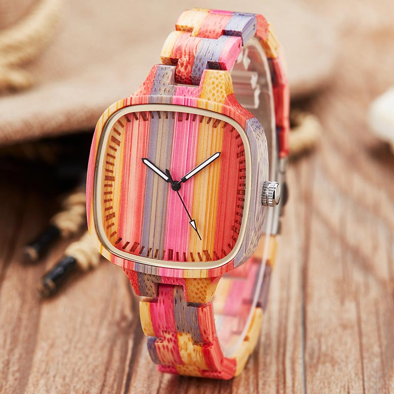 Colorful Wood Watch Women Men Natural Wooden Wristwatch Rainbow Casual Quartz Couple Watch For Male Clock Relogio Masculino