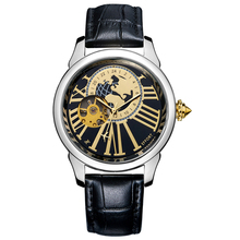 EFFORT 2015 Steampunk Clock Mens Mechanical Montres Tourbillon Leather Strap Shock Resistant Men Luxury Wrist Watches