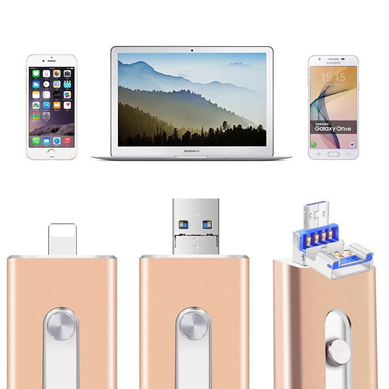 Dropshipping USB Flash Drive For iPhone X/8/7/7 Plus/6/6s/5 ipad Metal Pen drive HD Memory Stick 8G 16G 32G 64G 128G Flash Drive