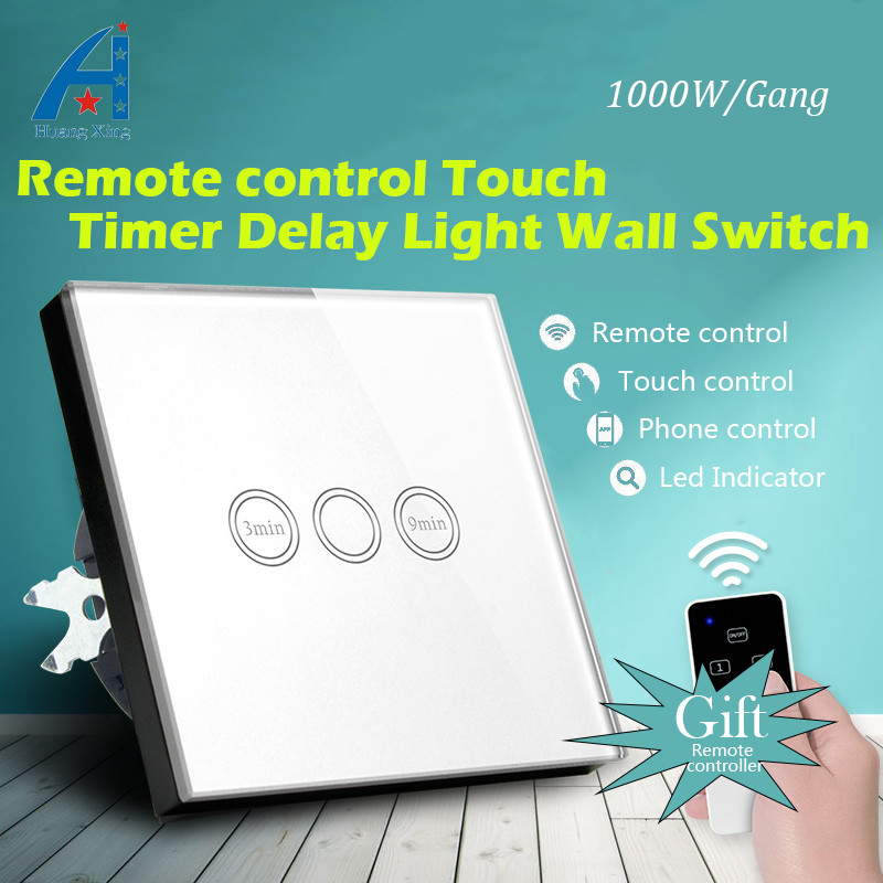 EU Standard 1000W Wireless Remote control Wall Light Timer Switch, (3-9 min time delay), lamp Time Delay Touch Switch 110-240V voice control switch two wire system wall mount sound activated and light snesor switch with 30s time delay ac 110 250v