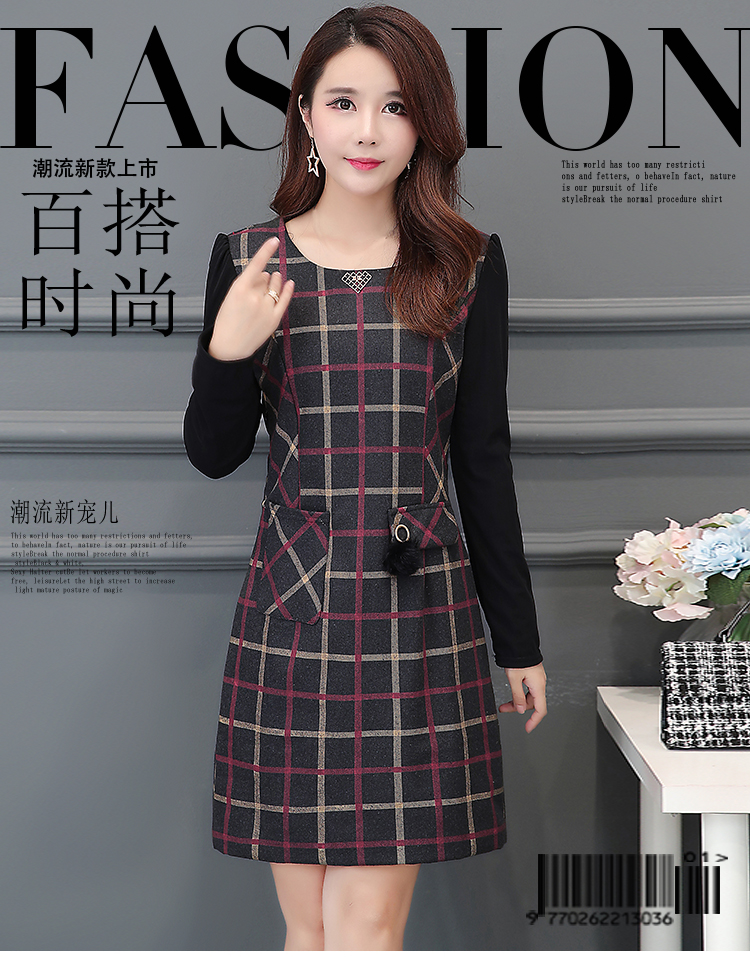 Elegant Dresses Women Basic Wear Slim Pockets Fashion Patchwork Vintage  Office Lady Work Basic Wear Velvet Red Plaid Dress 7224 ... 8376f1882928