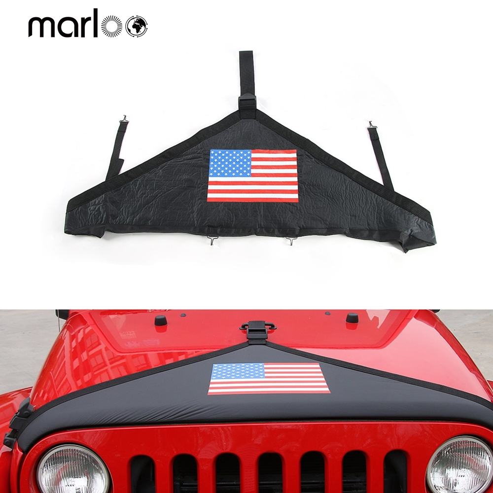 Marloo For Jeep Wrangler JK JKU 2007-2017 Accessories Front Hood Cover Bra Protector Cover ( US Flag )