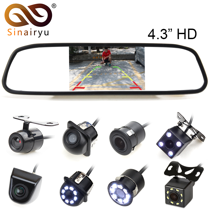 Sinairyu 4.3 Pouce TFT LCD Vue Arrière de Voiture Miroir Moniteur pour Caméra De Recul CCD Vidéo Auto Parking Assistance Inversion De Voiture-style