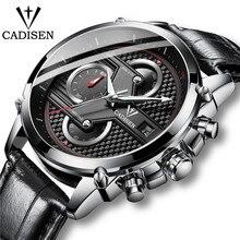 Cadisen relógios masculinos topo da marca cronógrafo moda casual quartzo relógios de couro esportes 30 m à prova dwaterproof água masculino relógio de pulso 2019