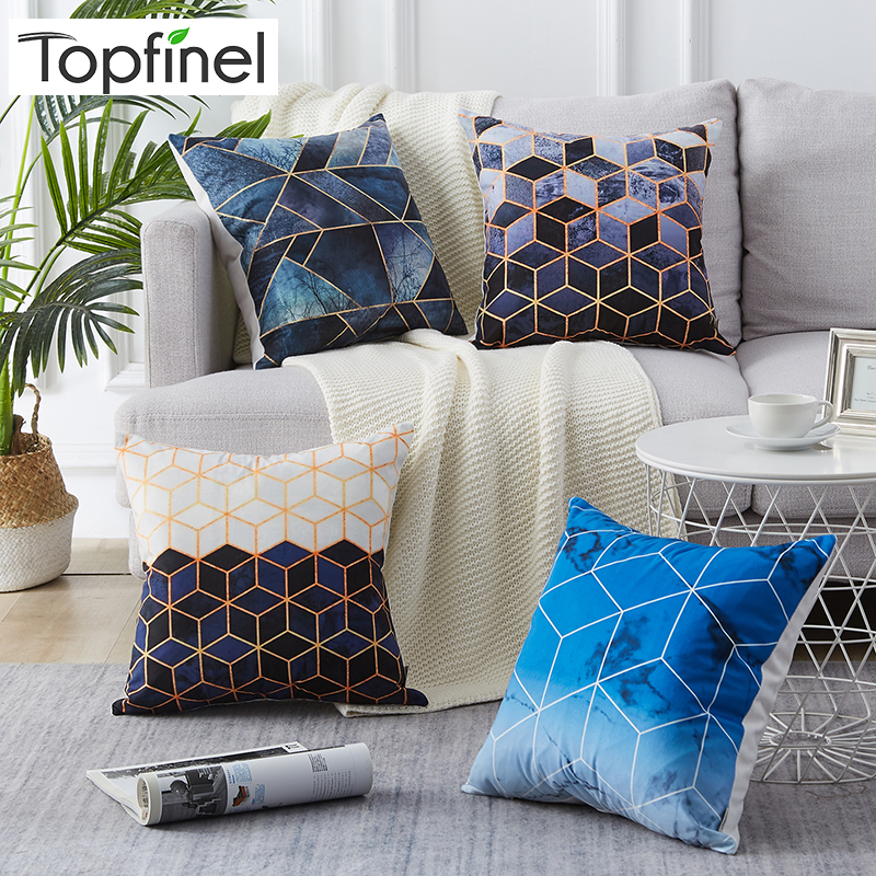 Contemporary Sofa Geometric Pillows: Topfinel Blue Black Diamond Cushion Cover Modern Geometric