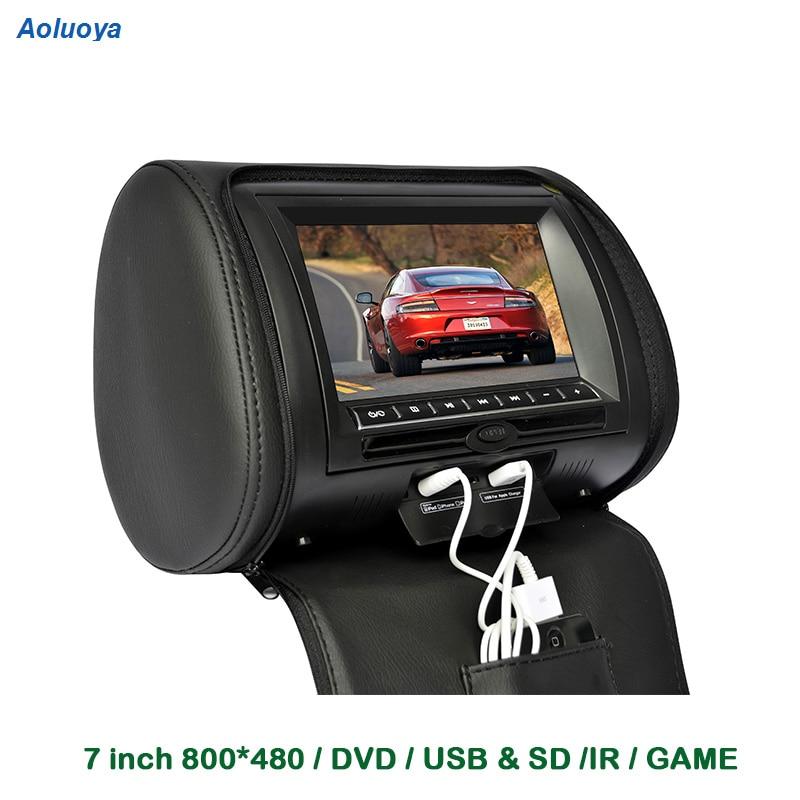 Aoluoya 7 pouce Voiture Appui-Tête Lecteur DVD TFT LCD Affichage Auto appui-Tête Moniteur avec USB SD IR jeu Retour siège Système Multimédia