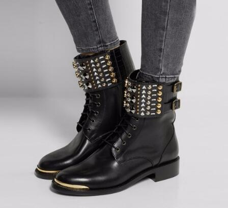 Autumn and spring woman black low heel crystal ankle boots Fashion round toe rivets short boots Motorcycle boots SIZE 34-43 beango fashion metal toe rivets women boots lace up round toe low heel motorcycle booties casual shoes woman big size 34 43eu