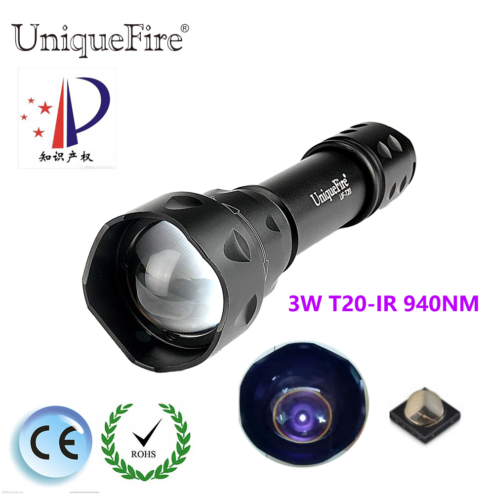 UniqueFire T20 IR 940NM 3 Modes LED Night Vision Flashlight Infrared light Adjustable Zoomable 38 convex lens Lamp Torch Lantern uniquefire uf 1407 mini 850 ir led zoomable flashlight 3 modes 30mm convex lens torch camping light for 1x 18650 battery