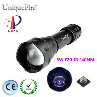 UniqueFire IR 940NM Flashlight T20 Zoomable 3 Modes Infrared Night Vision Lamp Torch Light Fill Light