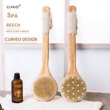 CLPAIZI Large Natural Bristle Bath Brush Wooden Long Handle Body Massage Shower Exfoliating Bathing Dry D30