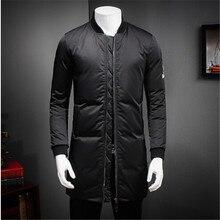 AILOOGE Quality Coat Fashion Designer White Duck Jacket Men Stand Collar Solid Long Parka Men Winter Coat Male 5XL-M Black Hot