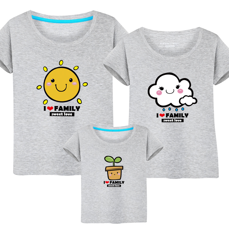 Famli 1pc Matchy T-shirts Mother Daughter Father Son Family Matching Mom Kids Summer Casual Short Print Cotton Tee Top Outfits