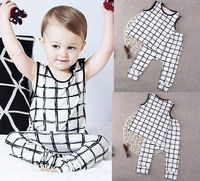 Infant Baby Toddler Girls Boy Summer Plaid Vests T Shirt Tops Pants 2Pcs Outfits Kids Clothes