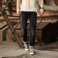 Bierelinnt 2017 New Autumn Winter Black Elastic Ripped Hole Straight Slim Fit Jeans Men Cotton Denim