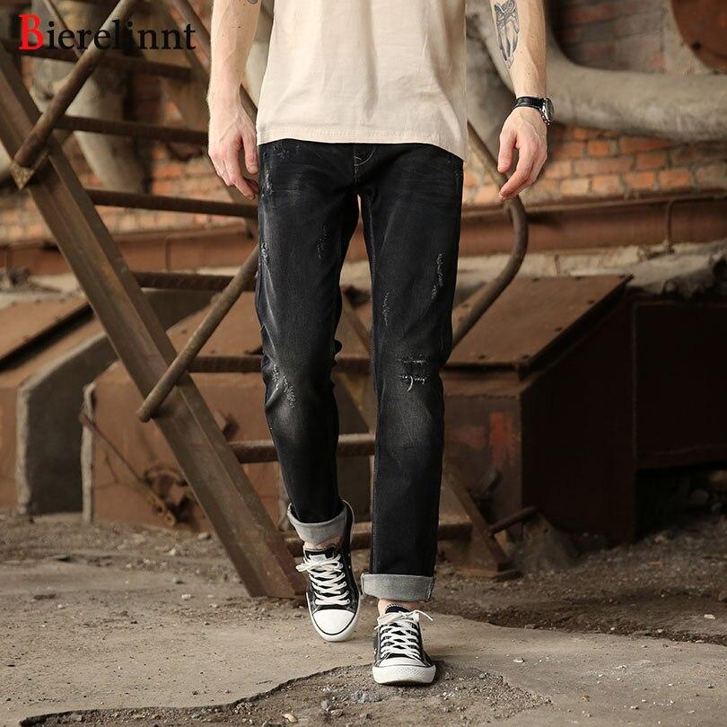 Bierelinnt 2017 New Hot Sale Cotton Denim Men Jeans,Autumn & Winter Black Elastic Ripped Hole Straight Slim Fit Jeans Men,140851