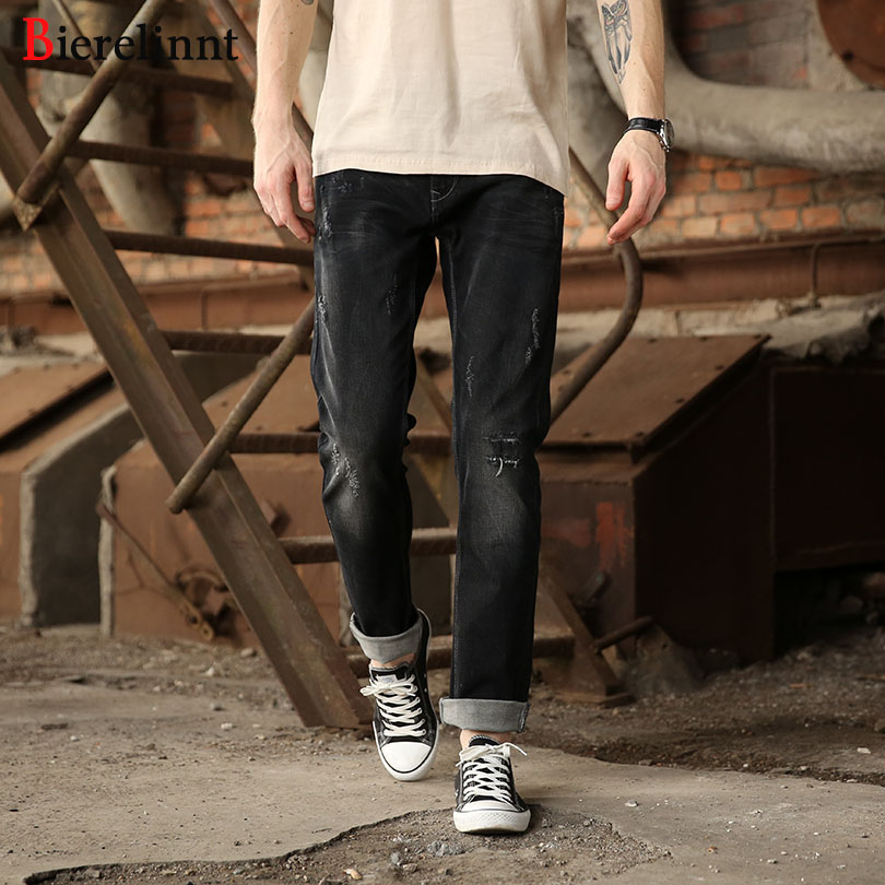 Bierelinnt 2018 New Hot Sale Cotton Denim Men Jeans,Autumn & Winter Black Elastic Ripped Hole Straight Slim Fit Jeans Men,140851