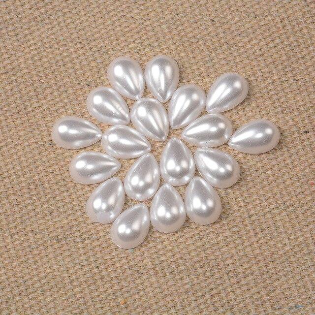 Белый abs имитация жемчуга Бисер для одежды Овальный Форма ювелирные