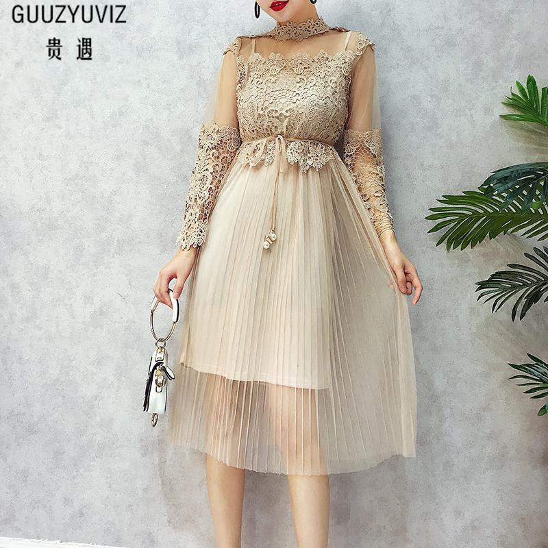 GUUZYUVIZ Black Sexy Party Women Dress 2017 Autumn Lace Hollow Out Bandage Midi-long Dress Women Long Sleeve Slim Solid Vestidos autumn long lace dress cut out pink blue fit and flare sleeve bodycon tunic evening party midi dress european style