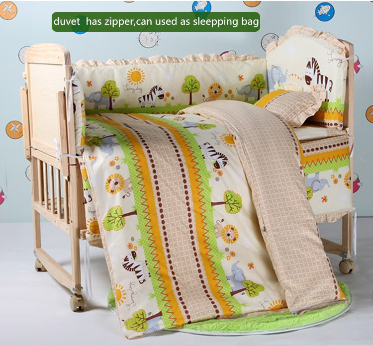 Фото Promotion! 6PCS Animals Baby Bedding Set Boy Baby Cot Crib Bedding Set  (3bumper+matress+pillow+duvet). Купить в РФ