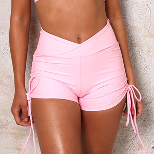 Image 4 - Summer Sexy Pink Booty Shorts Fitness Women Hotpants High Waist Micro Mini Short Both Sides  Lace Up Shorts Scrunch Butt