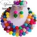 Colorido Cristal y Perlas De Plástico Collar Pulsera Pendientes Nigeriano Beads Boda Africanos Sistemas de La Joyería Nupcial ALS011
