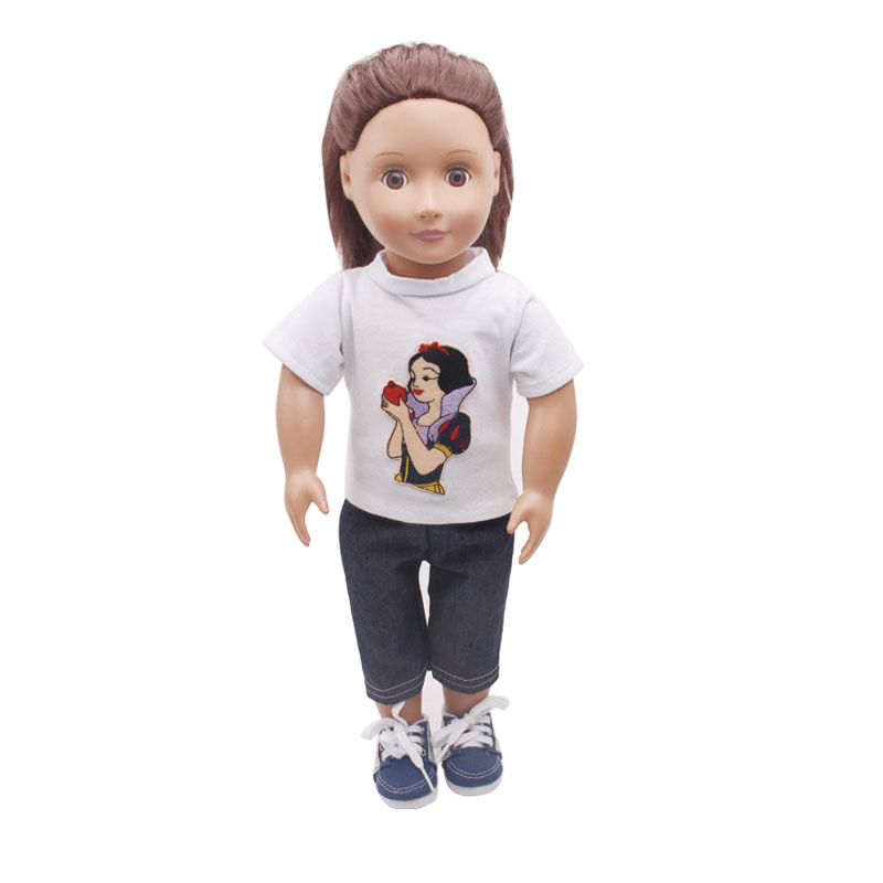 18 inch Girls doll White printed cartoon T-shirt + trousers American <font><b>new</b></font> <font><b>born</b></font> pant Baby <font><b>toys</b></font> fit 43 cm baby dolls c107 image
