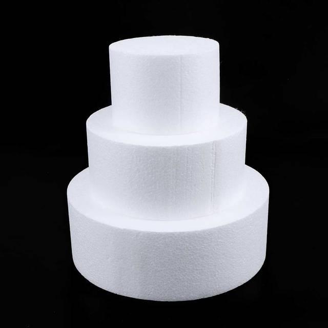 US $0 49 10% OFF 1Pcs Cake Dummy Modelling Party DIY Cake Foam Mould Round  Polystyrene Styrofoam Kitchen Flower Wedding Decor Accessories-in Cake