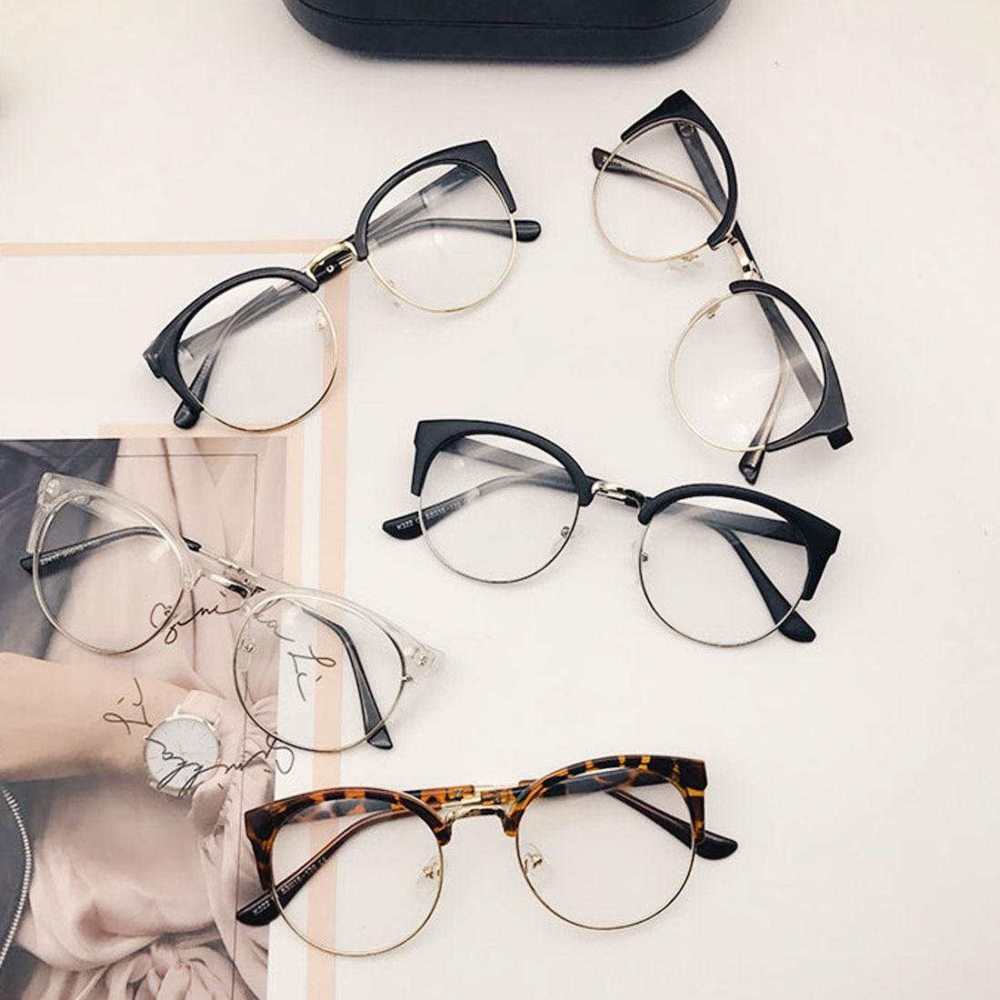 1PC Classic Retro Frames Glasses Clear Lens Nerd Designed Men Women Eyeglasses Vintage Half Metal Eyewear Frame Glasses