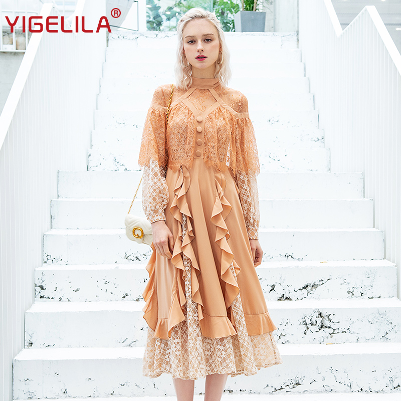 YIGELILA Early Spring Women Ruffles Lace Dress Fashion Elegant Stand Neck Empire Slim Holiday Long Dress