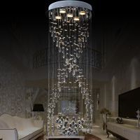 Getop Modern Crystal Chandelier Spiral Stairs Circular LED Villa Living Room Long Ceiling Lamp Dimmable Crystal Hanging Light