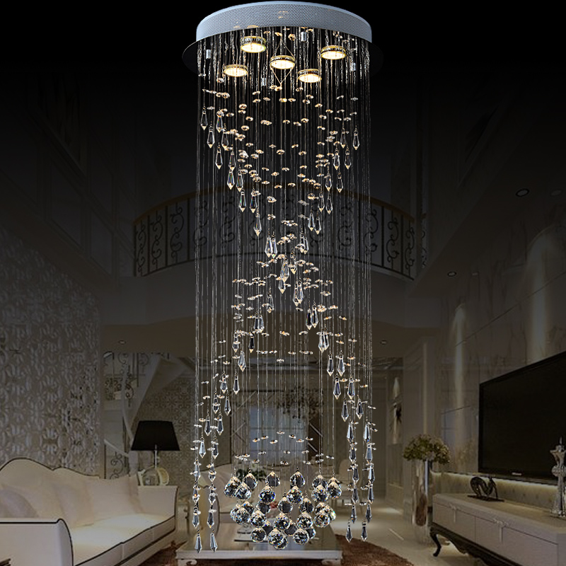 Lighting Basement Washroom Stairs: Luxury Spiral Stairs Crystal Chandelier Circular LED Villa