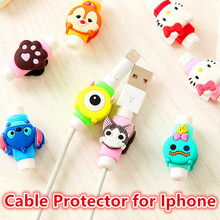 Cute Lovely Cartoon Cable Protector de cabo USB Cable Winder Cover Case For IPhone 5 5s 6 6s 7 7s plus cable Protect stitch owl