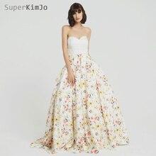SuperKimJo 2019 Printed Prom Dresses Long Elegant Beaded A Line Gown Abendkleider Vestido De Festa Longo