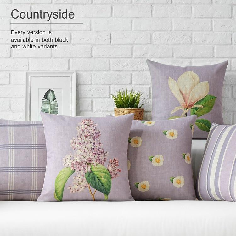 European Pastoral Pillow Floral Cushions, Flowers Cushion Pillow Thick Linen Pillowcase,sofa Cushion Home Decorative Pillows