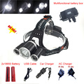 Headlamp LED Headlight 18650  T6 8000 Lumens 3Led USB Power bank Rechargeable Hunting Head Light Charger