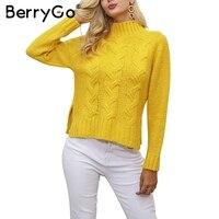BerryGo Knitted Side Split Pullover Sweater Women Long Sleeve Basic Sweater Outerwear Winter Autumn Pull Femme