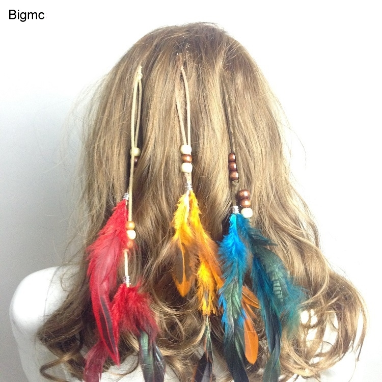 New Women BB Hairpin Wooden Beads Feather Headband Peacock Feather Bohemian Indian Bride Headband Hair Band Hair Jewelry A5020
