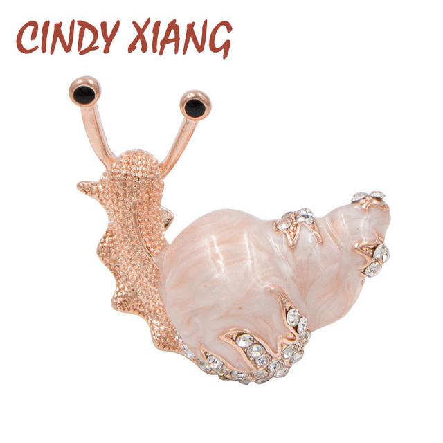 CINDY XIANG 2 Colors Available Rhinestone Snail Brooches for Women Cute Small In