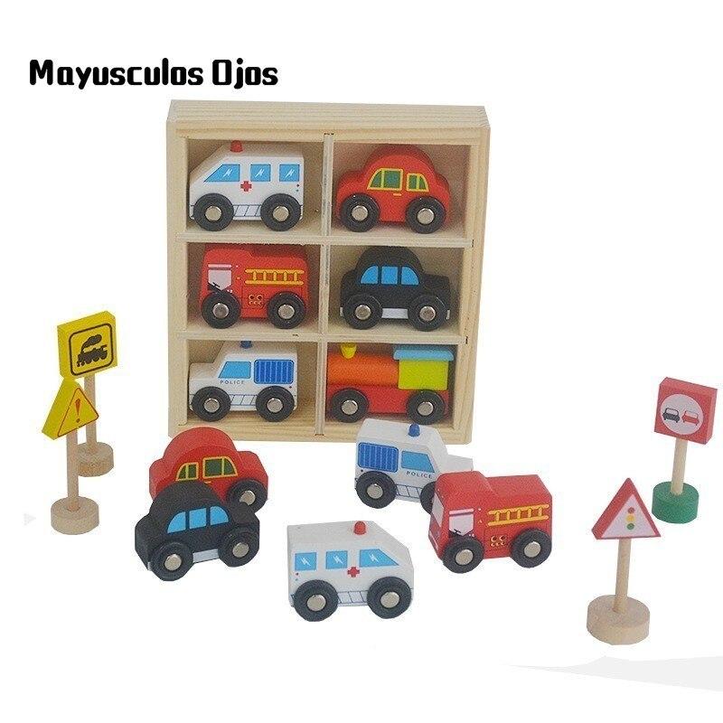 1set Kindergarten Wooden Car Toy Car Mixed Color Traffic