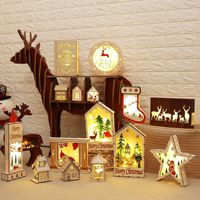 Christmas Santa Hiding In The Fireplace Painted Wood With Led Kid Toys Gift Ornament Navidad Christmas Decoration Light For Home