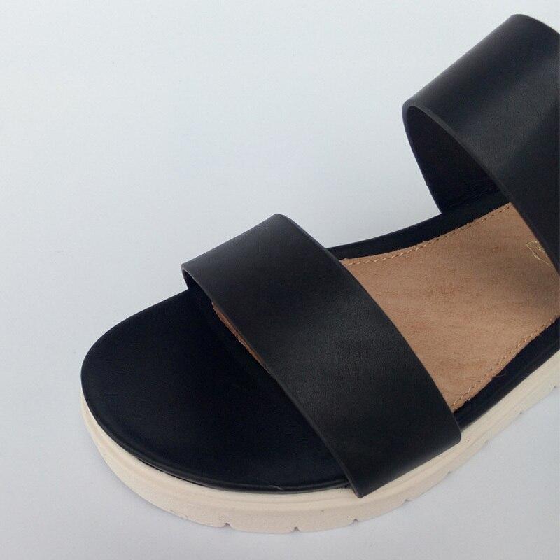 00fd2414acc1 2015 Women Genuine Leather Flat Bottom Platform Sandals(Black