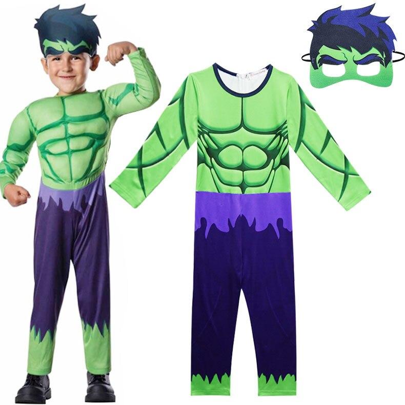 Kids The Incredible Hulk Jumpsuit Boy's Superhero Bodysuit Children's Clothing Set One-pieces Pajamas Halloween Cosplay Costume