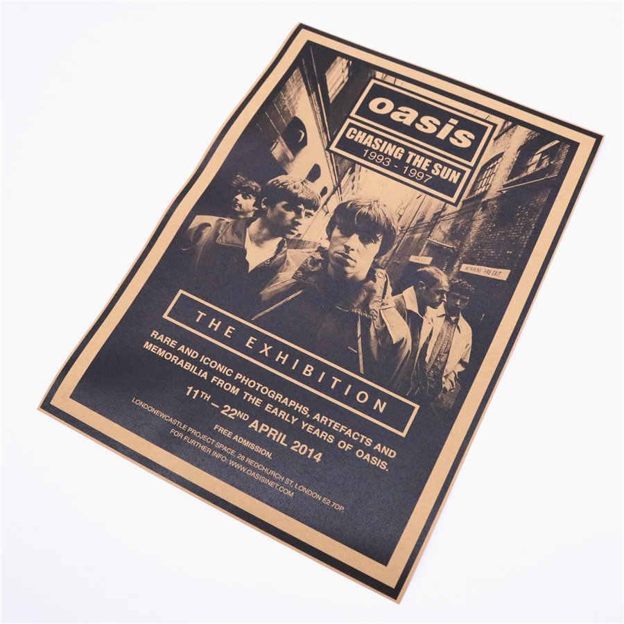 אואזיס רוק להקת הזמר בציר בר קפה רטרו קראפט נייר פוסטר חדר שינה סלון קיר מדבקת ציור 45.5x31.5 cm