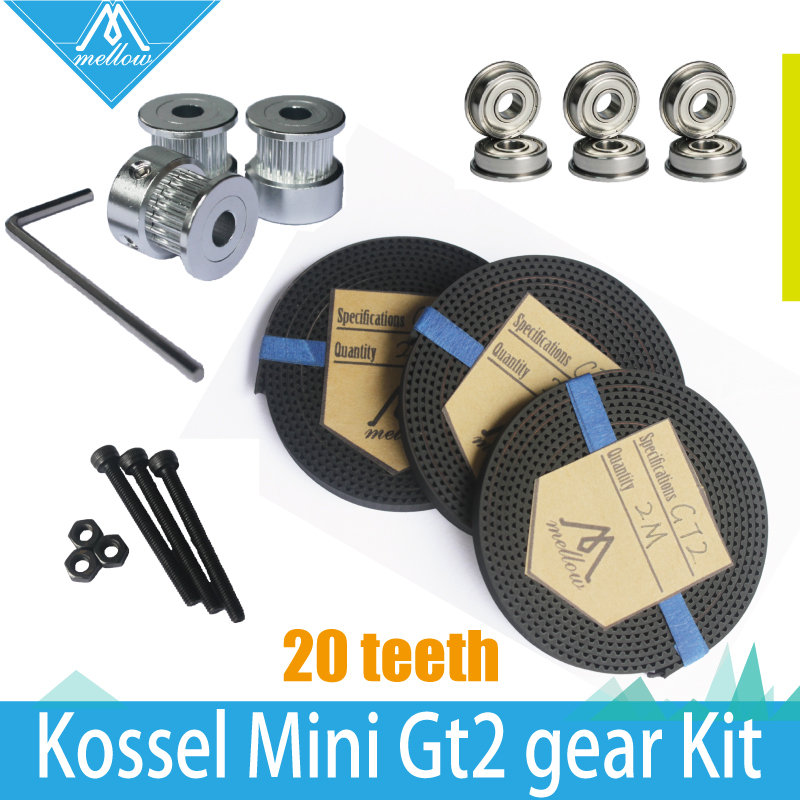 HOT! 3X 2M Timing Belt GT2 20 Tooth wheel Timing Pulley bore 5mm + F623ZZ Bearing & GT2 Gear kit for Delta Rostock Kossel Mini