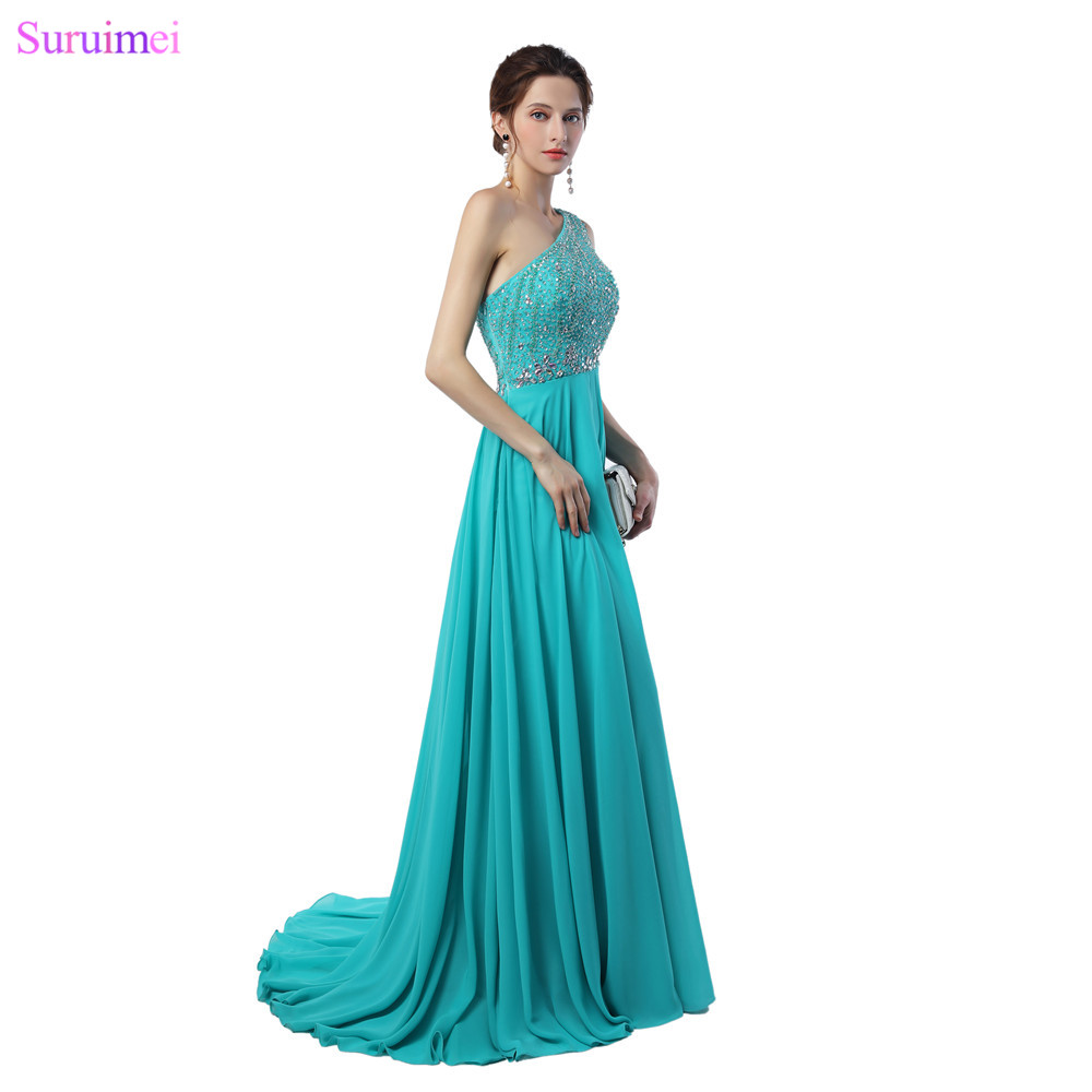 Mint Green Prom Dresses One Shoulder Floor Length Beaded Crystals ...