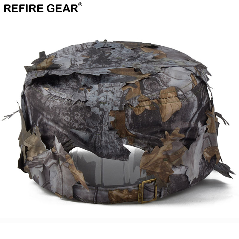 New Outdoor Conceal Camouflage Flat Cap Men Jungle Bionic Camo Hiking Camping Cap Quick Dry Paintball Fishing Snapback Hat in Hiking Caps from Sports Entertainment