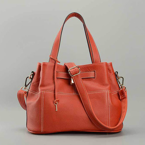 Image 3 - Zency 100% Soft Genuine Leather Elegant Women Shoulder Tote Bag Charm Orange Fashion Messenger Crossbody Purse With Lock Handbag
